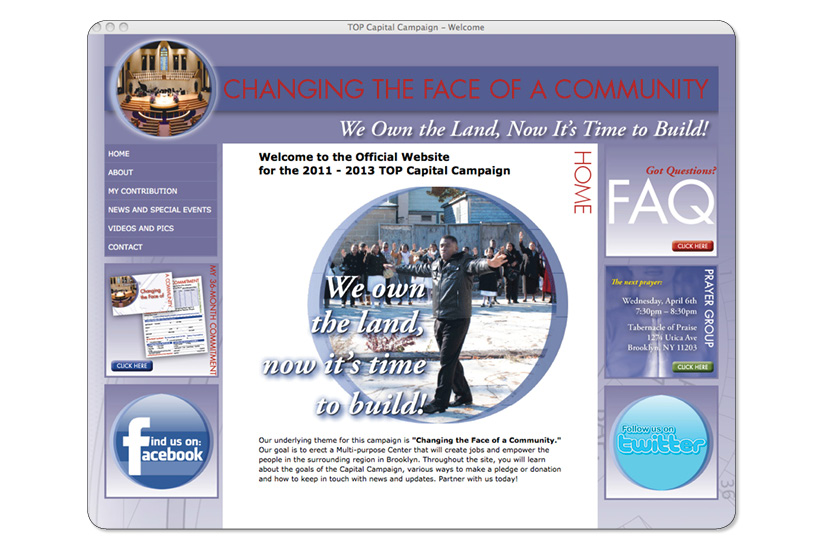 Tabernacle of Praise Capital Campaign Website